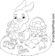 Easter Rabbit Coloring Page - Illustration Easter Bunny...