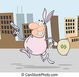Easter Rabbit Costume In City - Happy Bandit Running With...