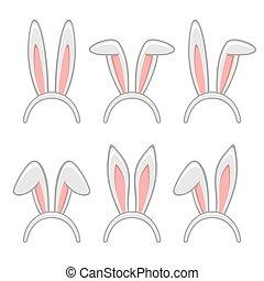 Easter Rabbit Ears Masks Set. Vector