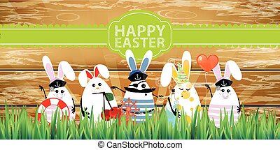 easter., rabbit-eggs, met, gekke , schattig, gezichten