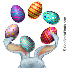 Easter Rabbit Eggs - Easter bunny with white fur juggling...