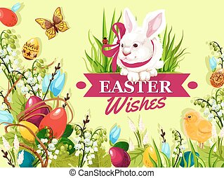 Easter rabbit greeting card with floral background