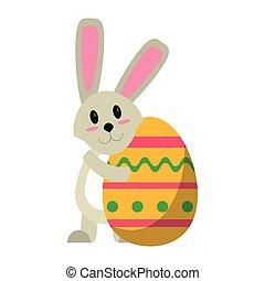 easter rabbit hugging egg