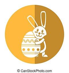 easter rabbit hugging egg shadow
