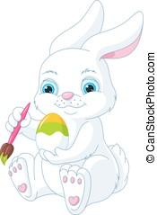 Easter Rabbit - White Easter Bunny painting an egg