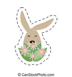 Easter rabbit inside an egg
