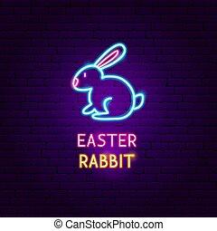 Easter Rabbit Neon Label