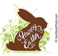 Easter rabbit on a green background