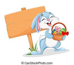 Funny Easter bunny cartoon character.