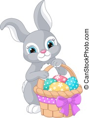 Easter Rabbit - Beautiful Easter rabbit with basket and eggs