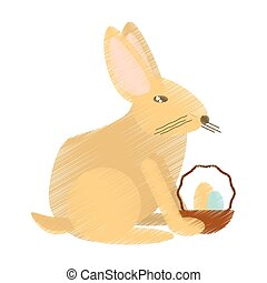 Easter rabbit with basket eggs icon