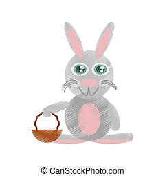 Easter rabbit with basket icon