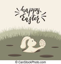 Easter Rabbit with Egg in Hole