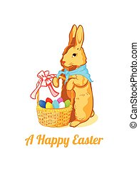Easter rabbit with eggs - Vintage Easter rabbit with the...
