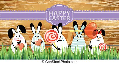 Easter. Rabbits-eggs in the grass