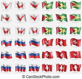 Easter Rapa Nui, Guyana, Russia, Switzerland. Set of 36...