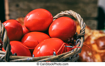 Easter red eggs in a basket