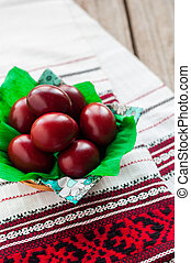 Easter Red Onion Dyed Eggs on a Traditional Towel, copy...