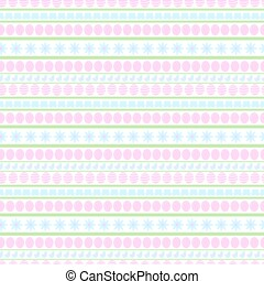 Easter repeatable seamless pattern of pink eggs, blue flowers, butterflies and chick