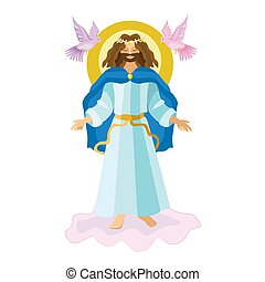 Easter resurrection religious background - risen Lord Jesus Christ on cloud in the sky vector illustration. Holy week