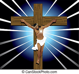 Easter Resurrection - Vector Illustration of Jesus Christ on...