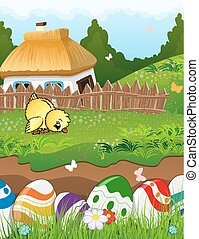 Easter rural landscape - Painted Easter eggs in the grass....