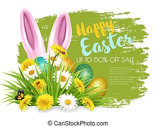 Easter Sale Background with colofrul eggs in green grass and rabbit. Vector.