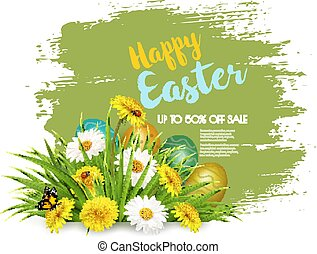 Easter Sale Background with colofrul eggs in green grass and spring flowers. Vector.