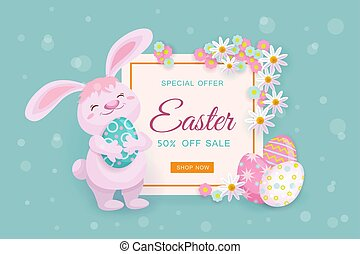 Easter sale banner with bunny, eggs and flowers
