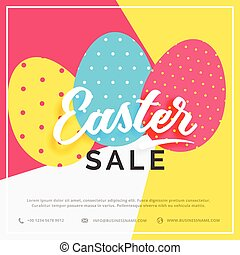 easter sale banner with colorful three eggs