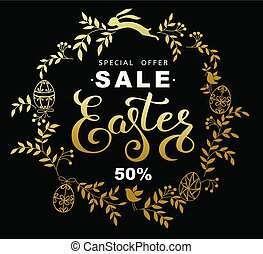 Easter sale banner with wreath golden leaves and  easter bunny on black background. Vector vertical illustration