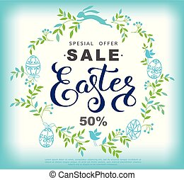 Easter sale banner with wreath made of blue leaves and easter bunny. Vector vertical illustration