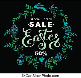 Easter sale banner with wreath of blue leaves and easter bunny on black background. Vector vertical illustration