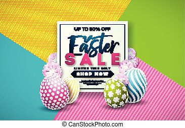 Easter Sale Illustration with Color Painted Egg and Spring Flower on Colorful Background. Vector Holiday Design Template for Coupon, Banner, Voucher or Promotional Poster.