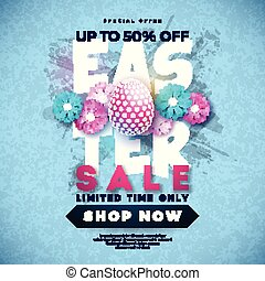 Easter Sale Illustration with Color Painted Egg and Spring Flower on Grunge Background. Vector Holiday Design Template for Coupon, Banner, Voucher or Promotional Poster.