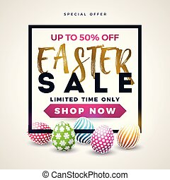 Easter Sale Illustration with Color Painted Egg on White Background. Vector Holiday Design Template for Coupon, Banner, Voucher or Promotional Poster.