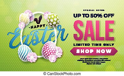 Easter Sale Illustration with Color Painted Egg, Spring Flower and Rabbit Ears on Green Background. Vector Holiday Design Template for Coupon, Banner, Voucher or Promotional Poster.