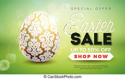 Easter Sale Illustration with Gold Painted Egg on Shiny Green Background. Vector Holiday Design Template for Coupon, Banner, Voucher or Promotional Poster.