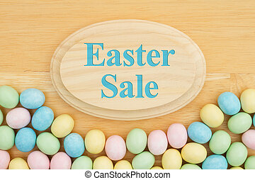 Easter sale message with candy Easter egg