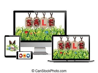 Easter Sale Set Monitor Notebook Tablet Smartphone