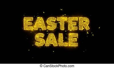 Easter Sale Text Sparks Glitter Particles on Black Background. Sale, Discount Price, Off Deals, Offer promotion offer percent discount ads 4K Loop Animation.