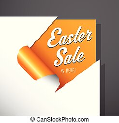 Easter Sale text uncovered from torn paper corner.