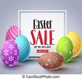 Easter sale vector banner design with colorful eggs elements