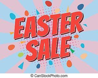 Easter sale, wording in comic speech bubble on burst background