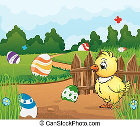 Easter scene background