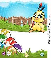 Easter scene with chicken and colorful eggs