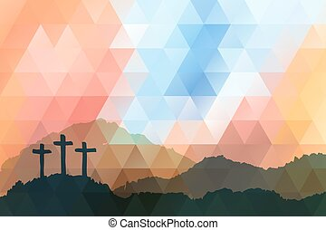 Easter scene with cross. Jesus Christ. Polygonal design.
