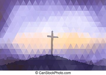 Easter scene with cross. Jesus Christ. Polygonal design. - ...