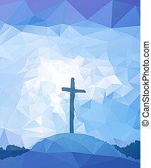Easter scene with cross. Jesus Christ. Polygonal design.