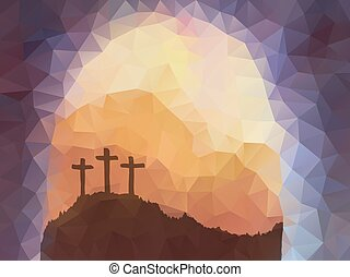 Easter scene with cross. Jesus Christ. Polygonal vector...